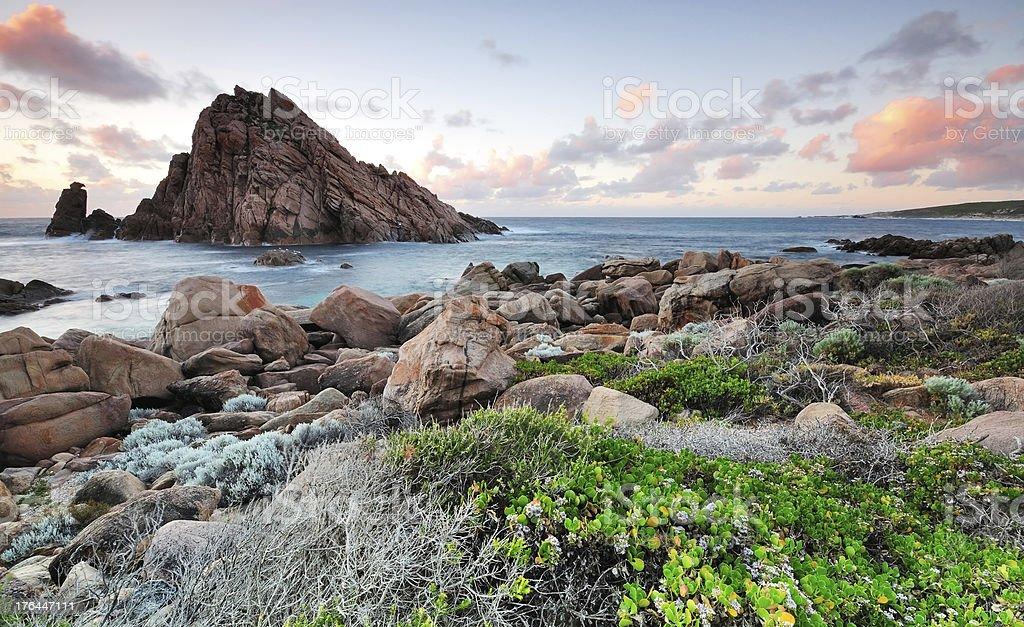 Sunset in Sugarloaf Rock in Margaret River, Western Australia. stock photo