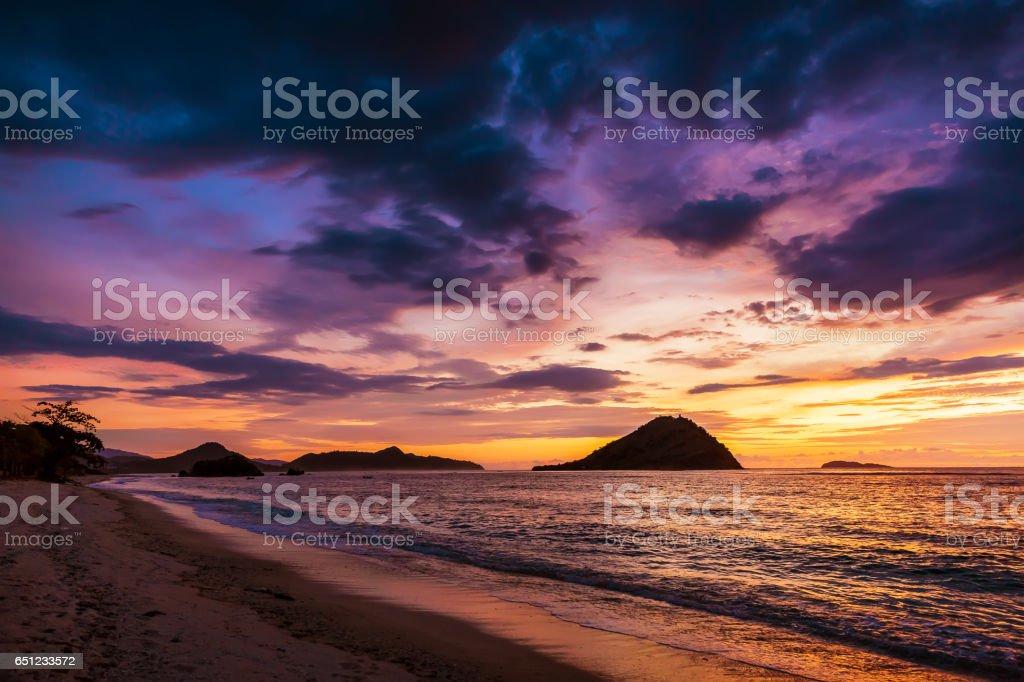 Sunset in Sumbawa stock photo