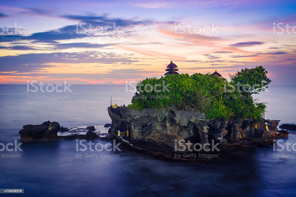 Sunset in Tanah Lot stock photo