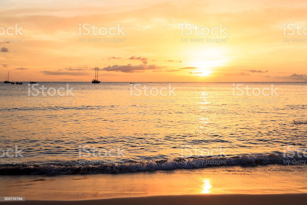 Sunset in Tarrafal beach in Santiago island in Cape Verde stock photo