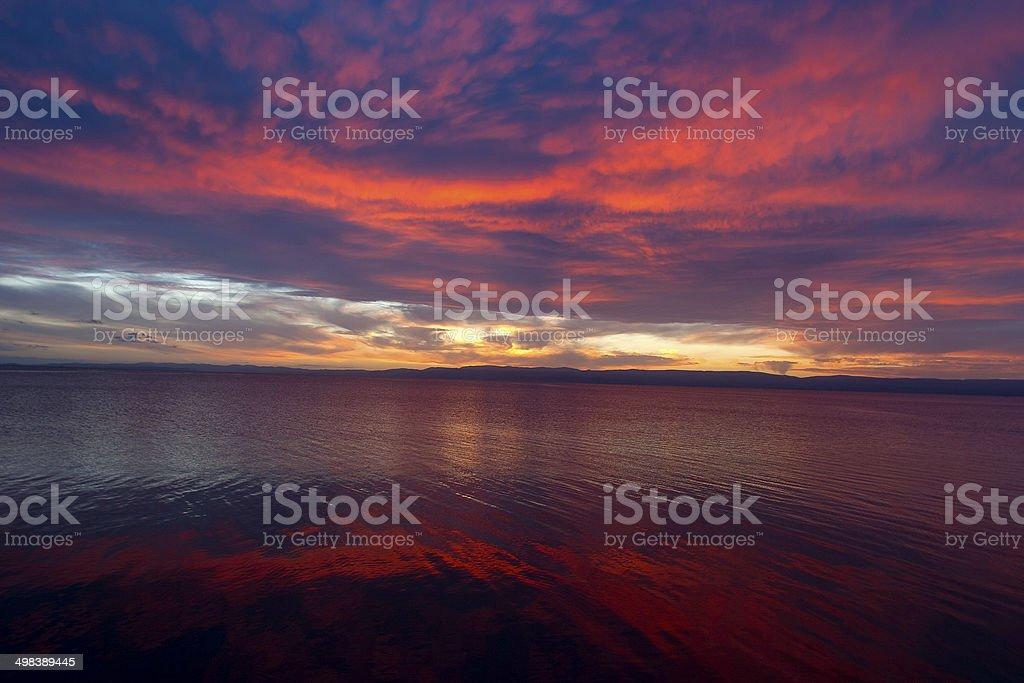 Sunset in Tasmania, Australia stock photo