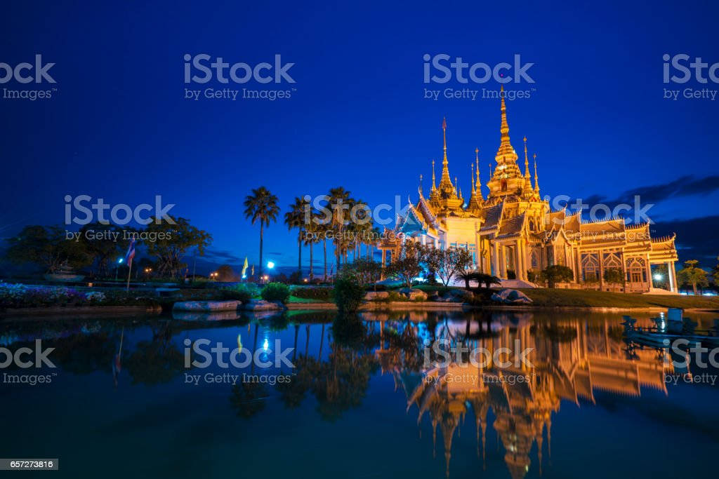 sunset in temple at Wat None Kum in Nakhon Ratchasima province Thailand stock photo