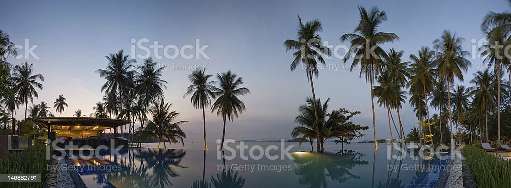 Sunset in Thailand resort stock photo