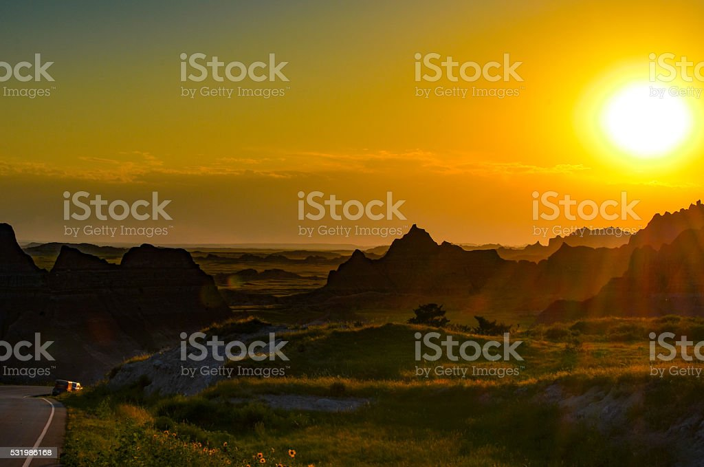 Sunset in the Badlands stock photo