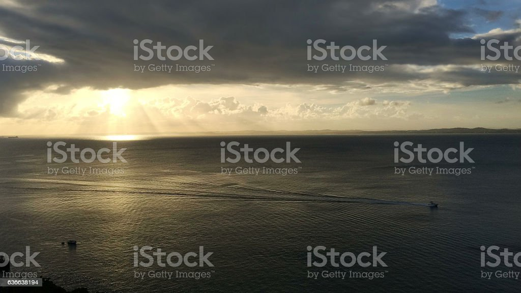 Sunset in the Bay of All Saints in Brazil stock photo