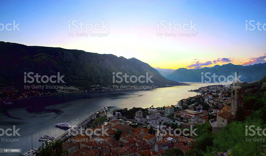 Sunset in the Bay of Kotor. royalty-free stock photo