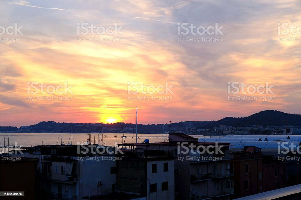 Sunset in the Bay of Naples stock photo