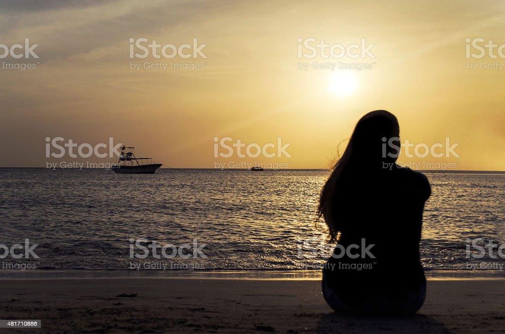 Sunset in the beach of rodadero stock photo