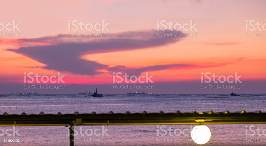Sunset in the beach, Twilight view at the beach Lizenzfreies stock-foto