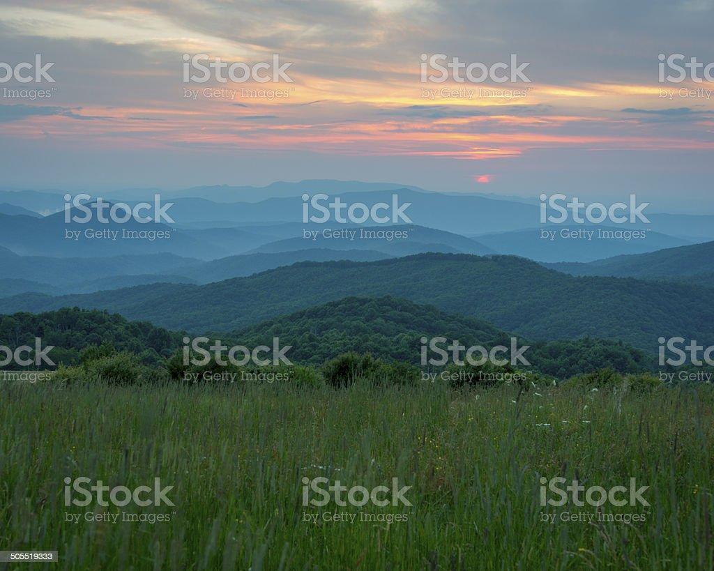 Sunset in the Blue Ridge stock photo