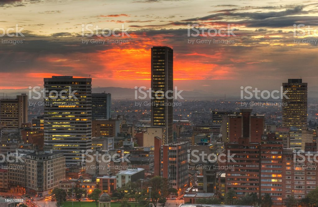 Sunset in the city, HDR stock photo