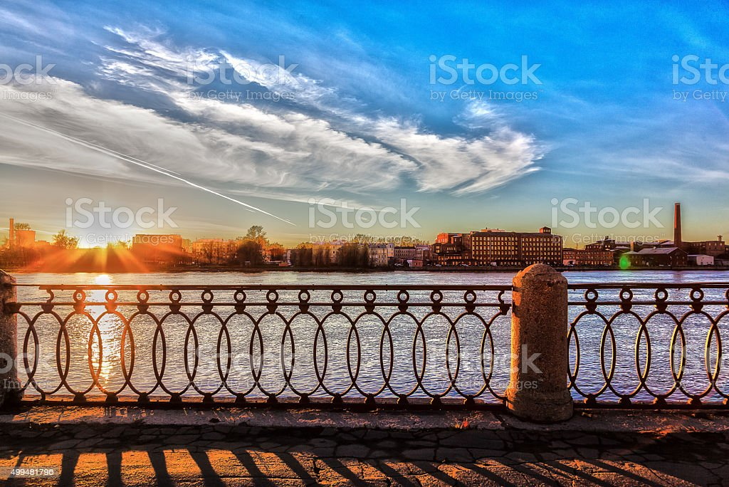 Sunset in the city on the river Neva stock photo