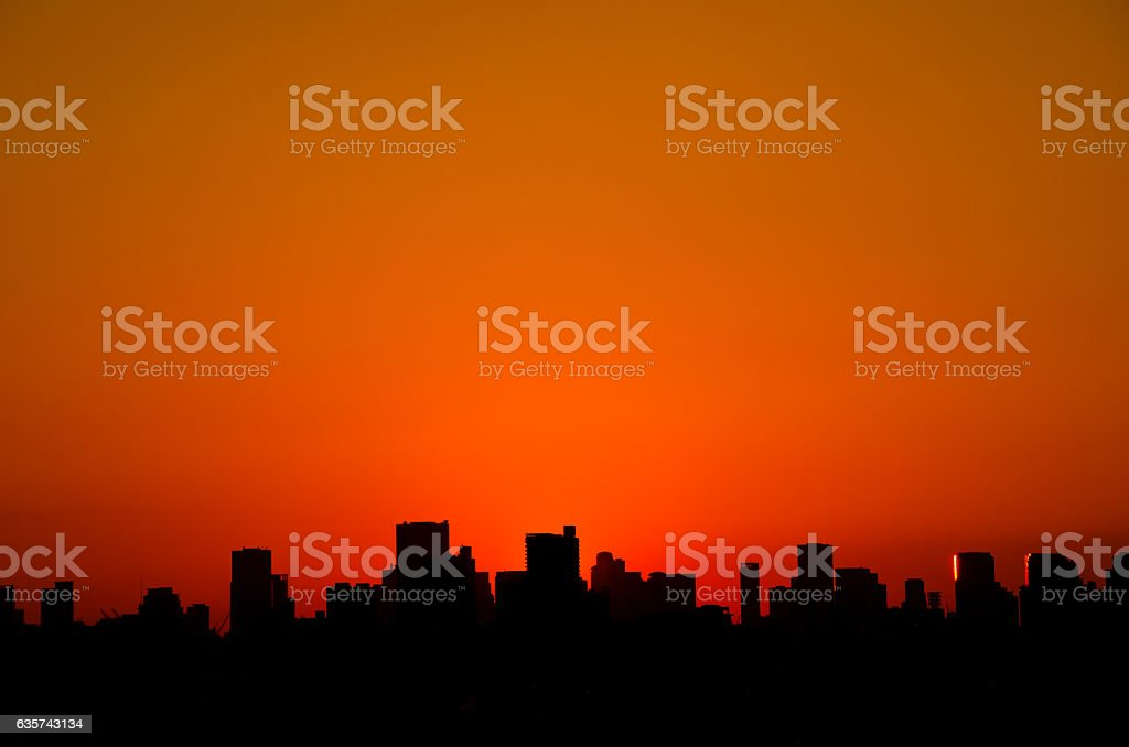 Sunset in the city stock photo