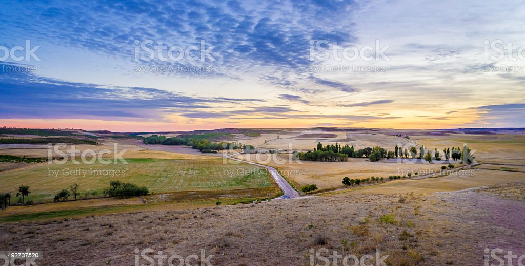 Sunset in the countryside of Spain stock photo