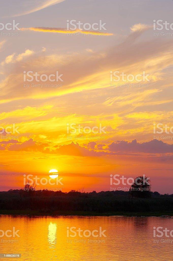 sunset in the Danube Delta Romania royalty-free stock photo