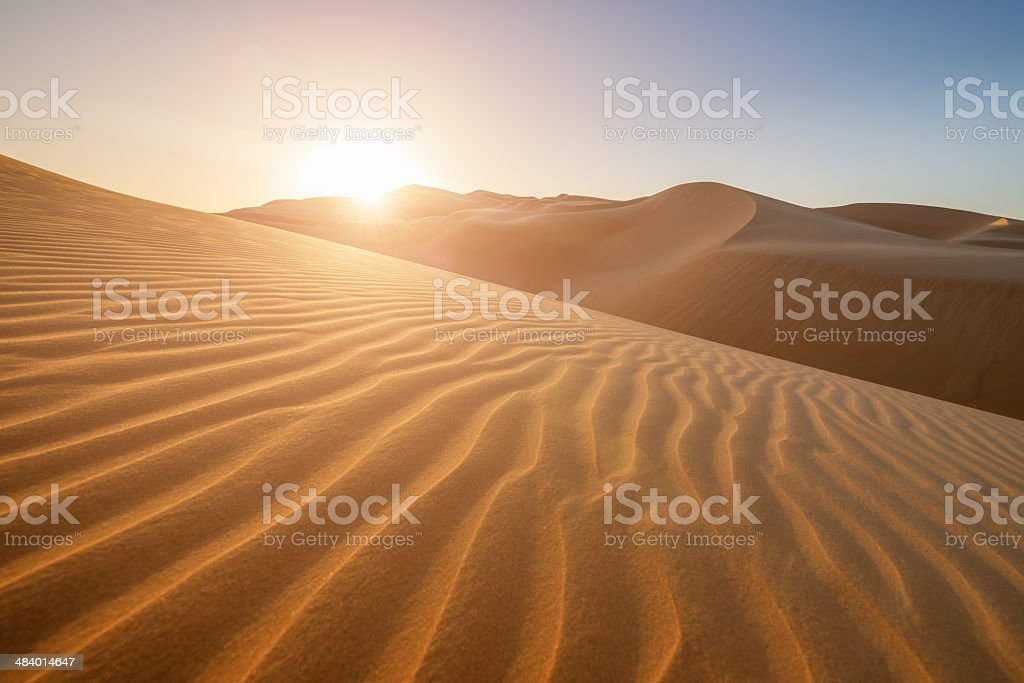 Sunset in the Desert United Arab Emirates stock photo
