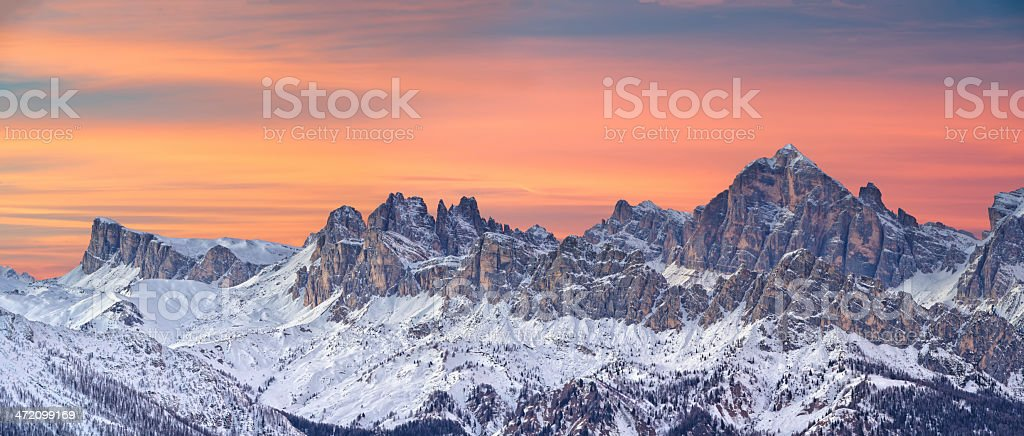 Sunset in the Dolomites stock photo