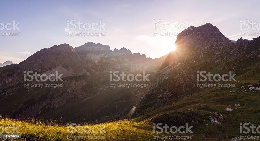 Sunset in the European Alps in Summer in the Allgäu stock photo