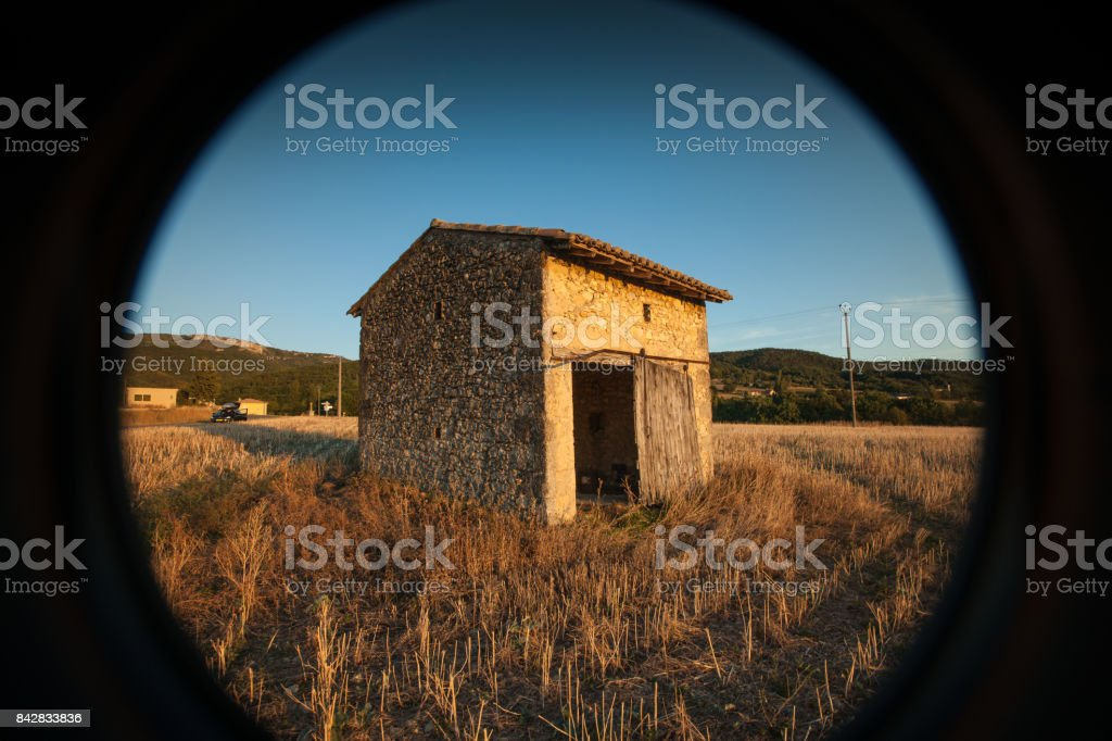 Sunset in the fields of the Rhône valley stock photo