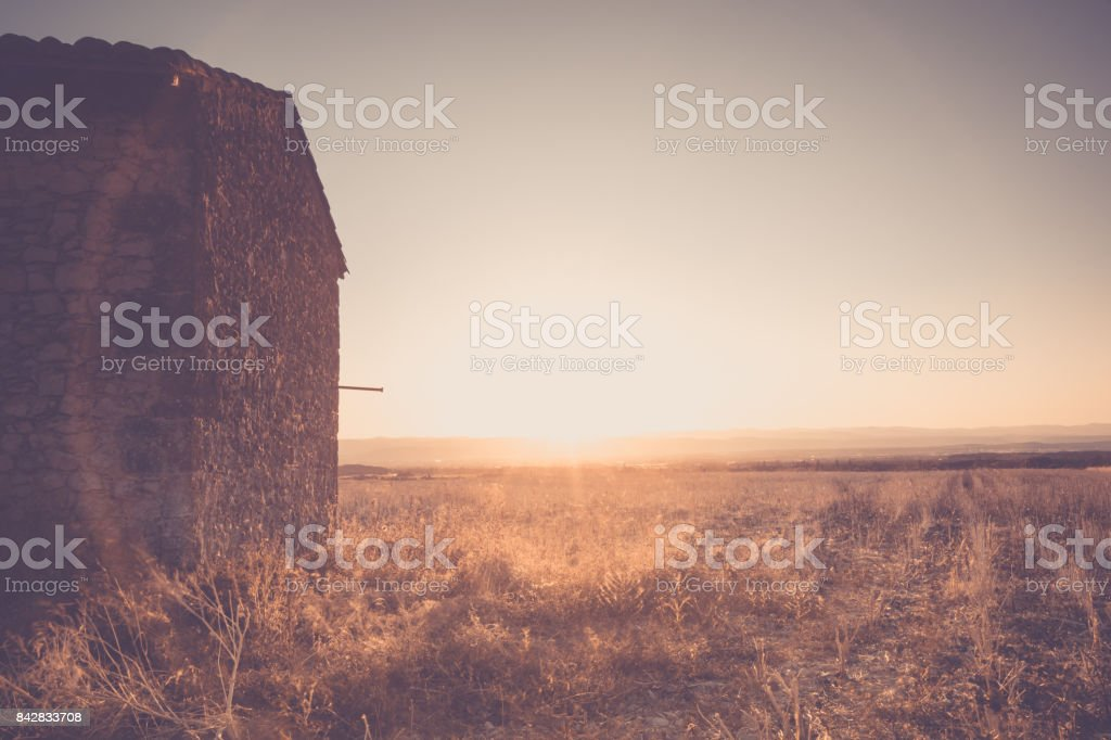 Sunset in the fields of the Rhone valley stock photo