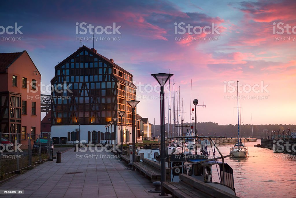 Sunset in the harbor. Klaipeda, Lithuania. stock photo