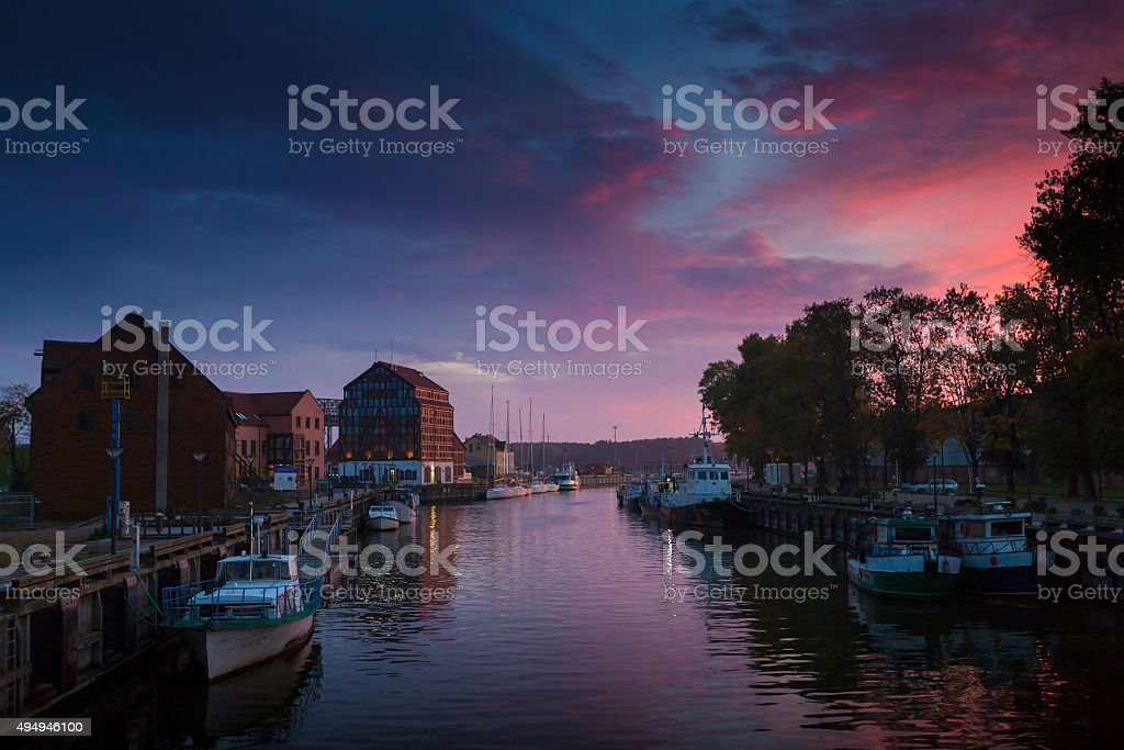 Sunset in the Klaipeda port, Lithuania. stock photo