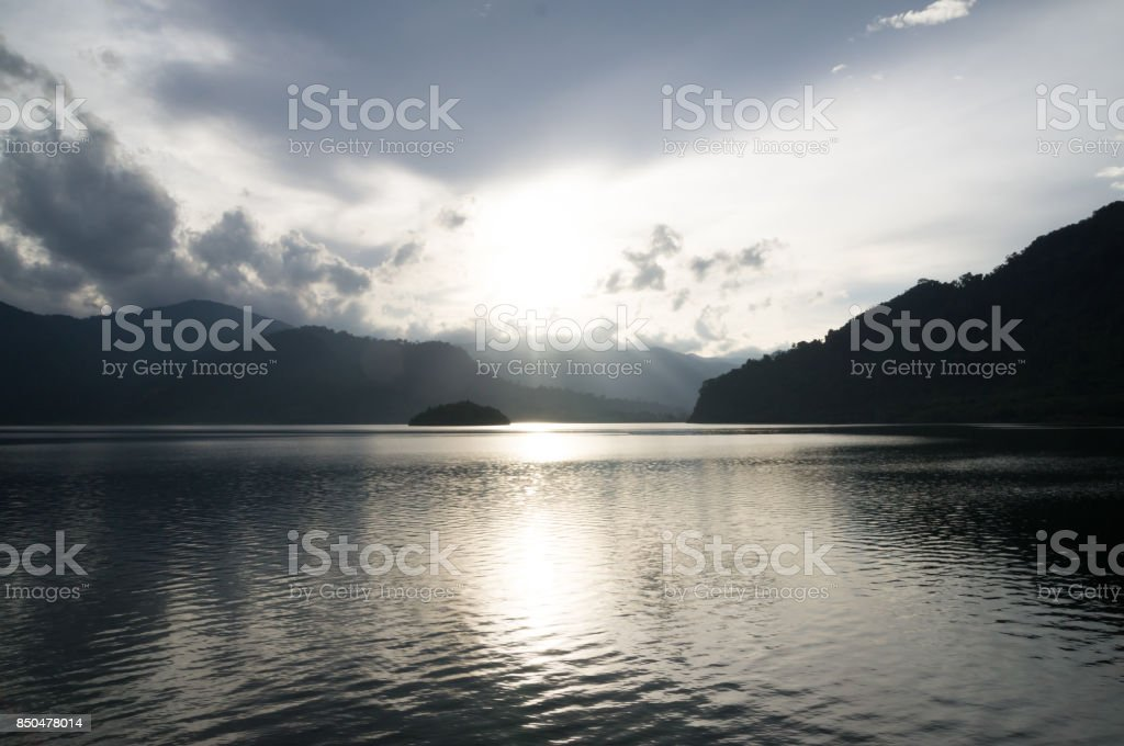 Sunset in the lake stock photo