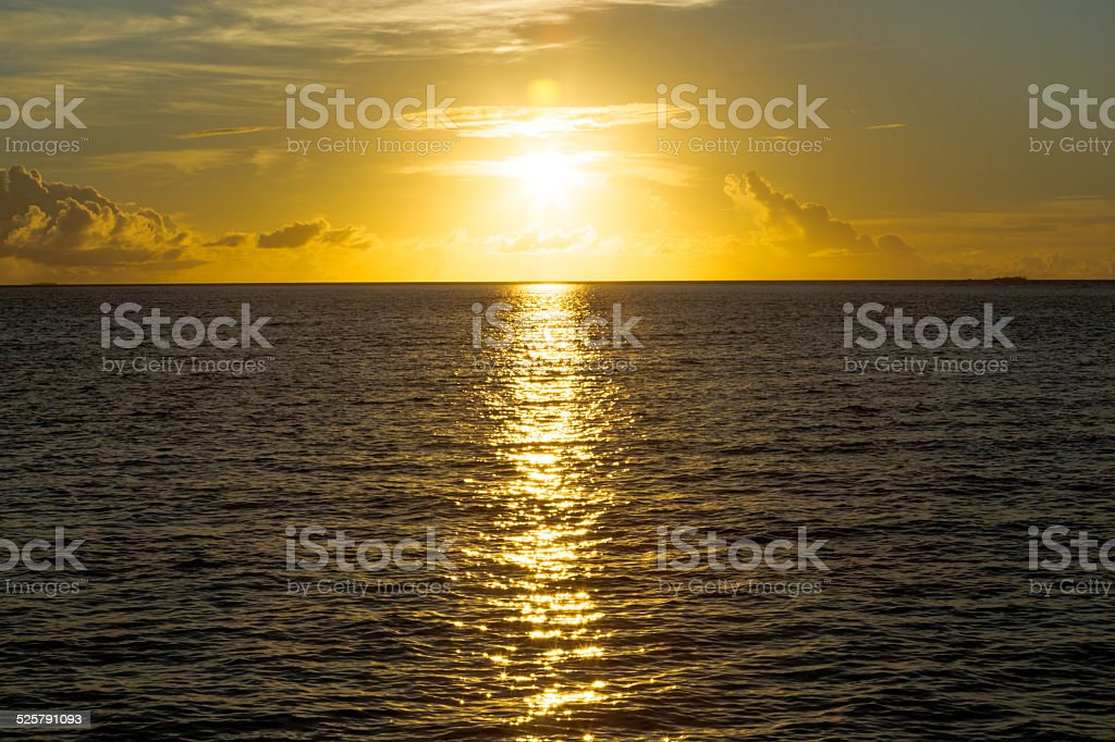 Sunset in the Maldives islands stock photo