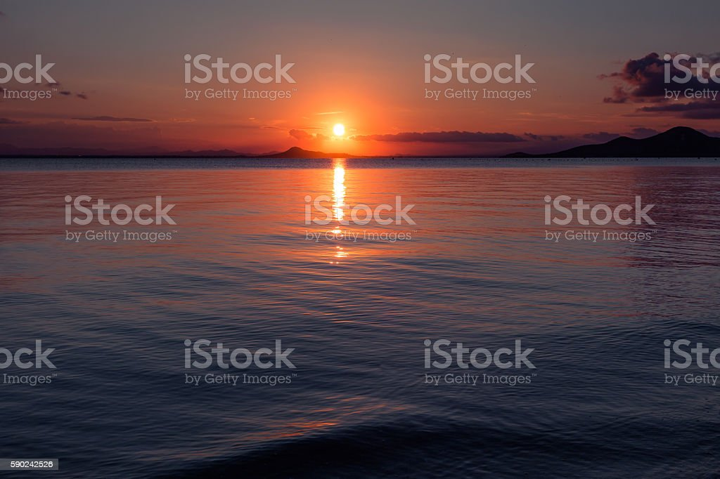 Sunset in the Mar Menor, La Manga stock photo