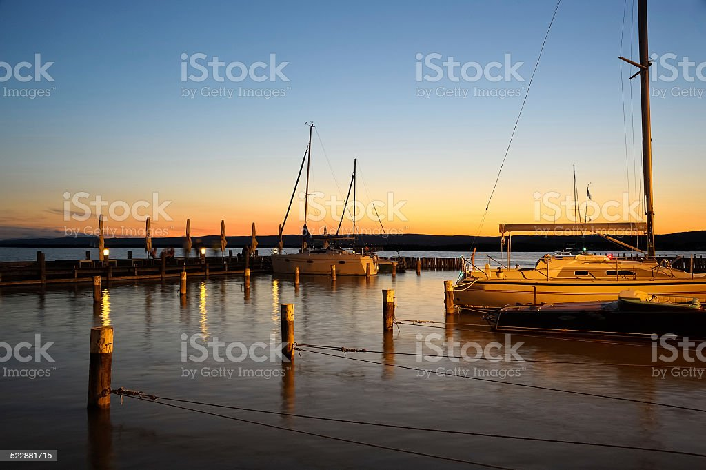 Sunset in the marina stock photo