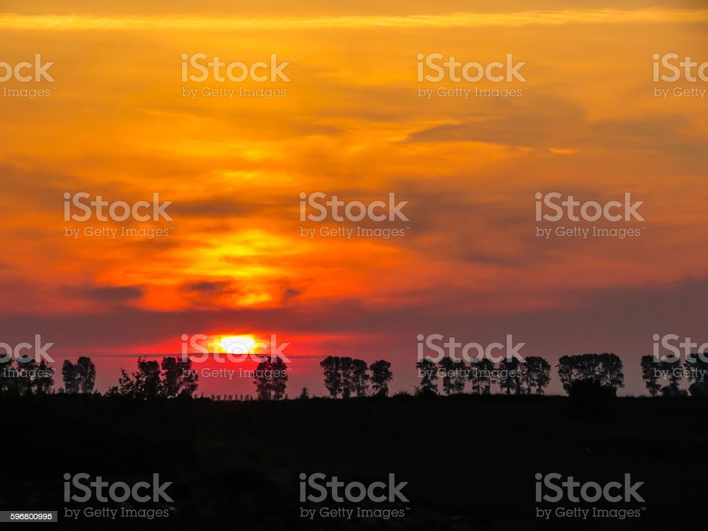 Sunset in the Mont Saint-Michel bay, France stock photo