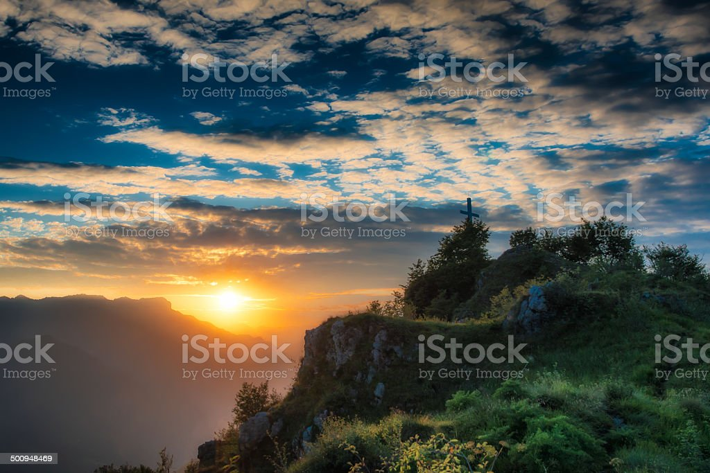 Sunset in the mountain royalty-free stock photo