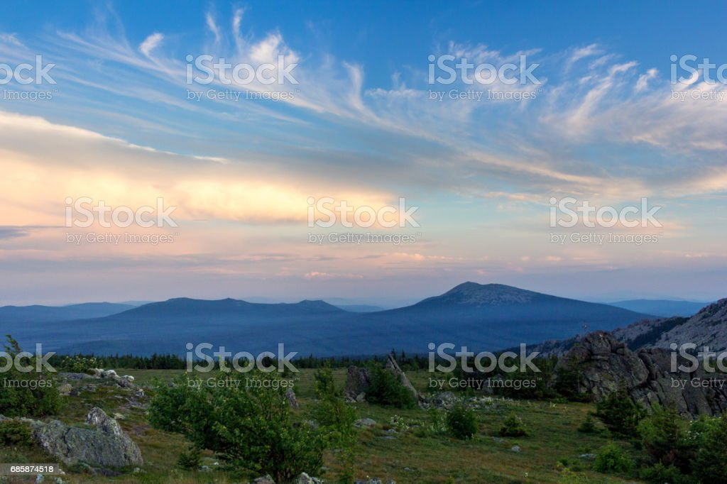 Sunset in the mountains of the Southern Urals. Beautiful sunset sky. The nature of the Southern Urals. stock photo