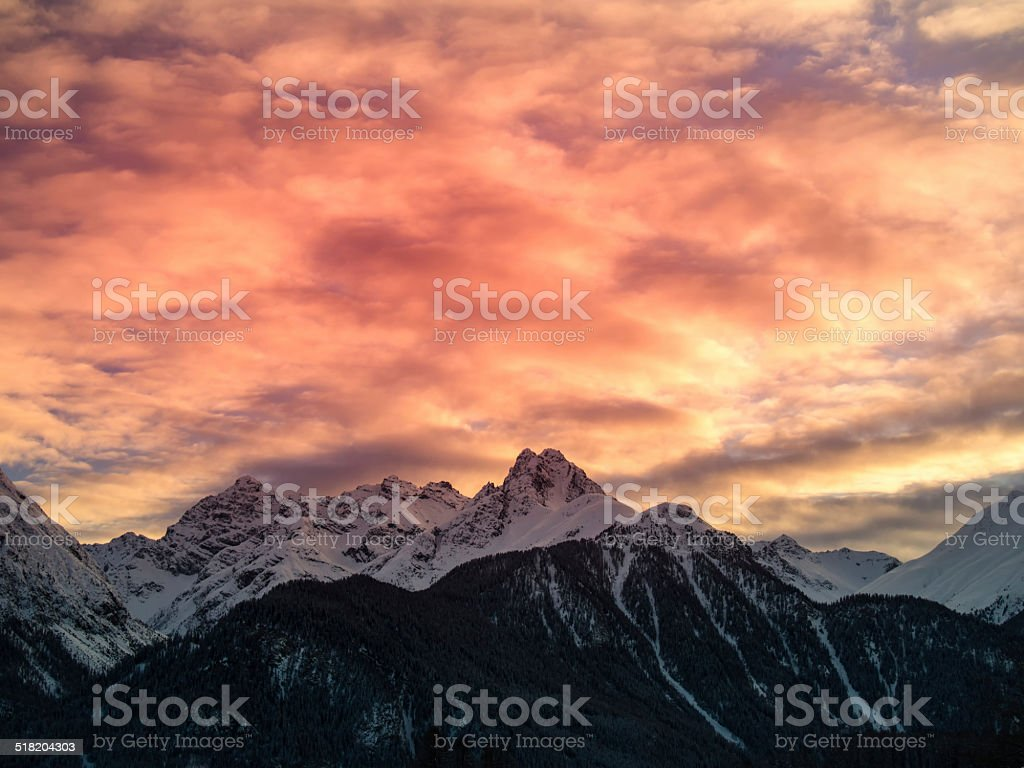 Sunset in the mountains, Swiss Alps, Engadine, Switzerland stock photo