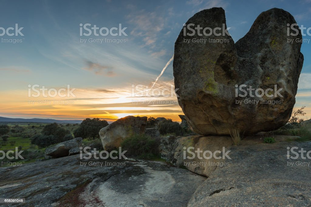 Sunset in the Natural Area of Barruecos stock photo