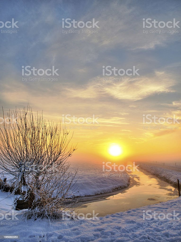 Sunset in the Netherlands royalty-free stock photo