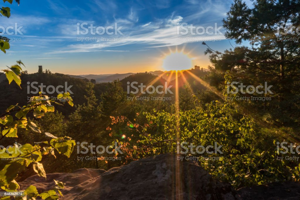 Sunset in the Palatinate stock photo