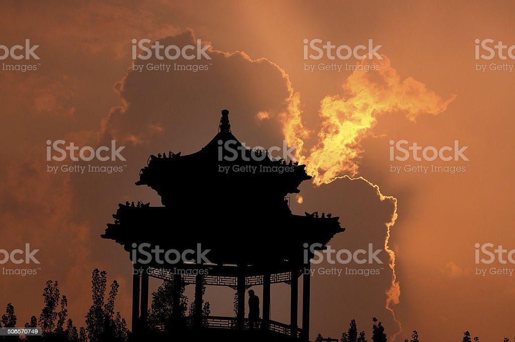 Sunset in the Pavilion royalty-free stock photo