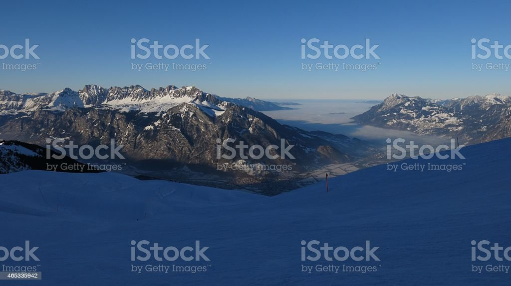 Sunset in the Pizol ski area stock photo