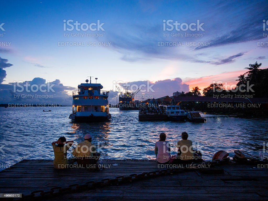 Sunset in the port in Yangon, Myanmar stock photo