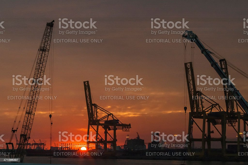 Sunset in the port royalty-free stock photo