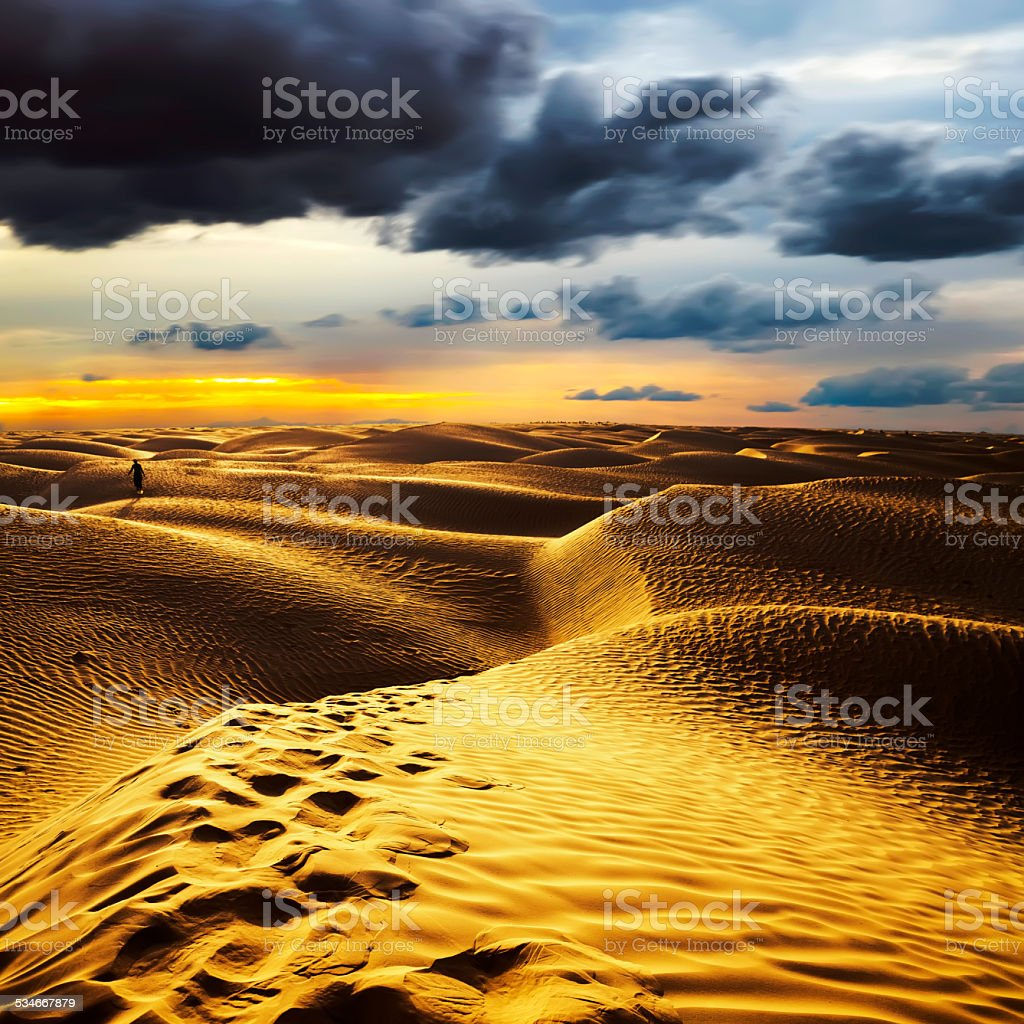 Sunset in the Sahara desert - Douz, Tunisia. stock photo