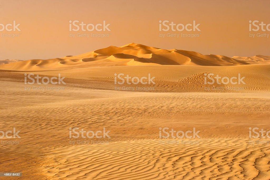 sunset in the sand-dune desert stock photo