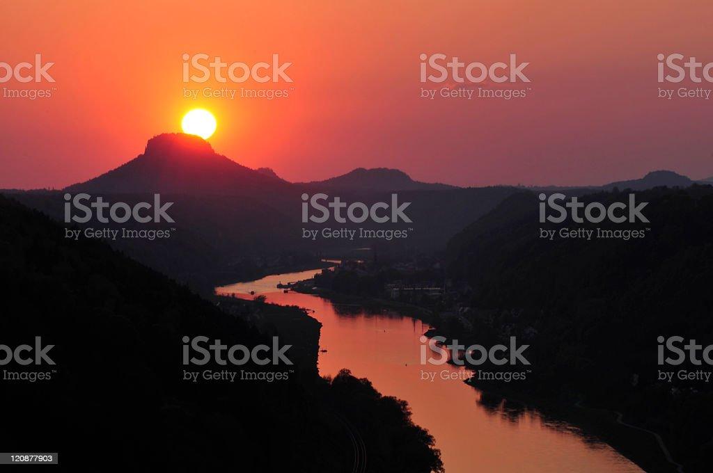 Sunset in the Saxon Switzerland, Germany stock photo