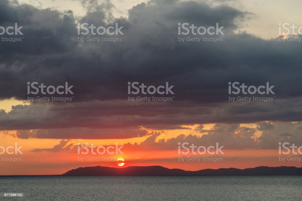 sunset in the sea , Philippines stock photo