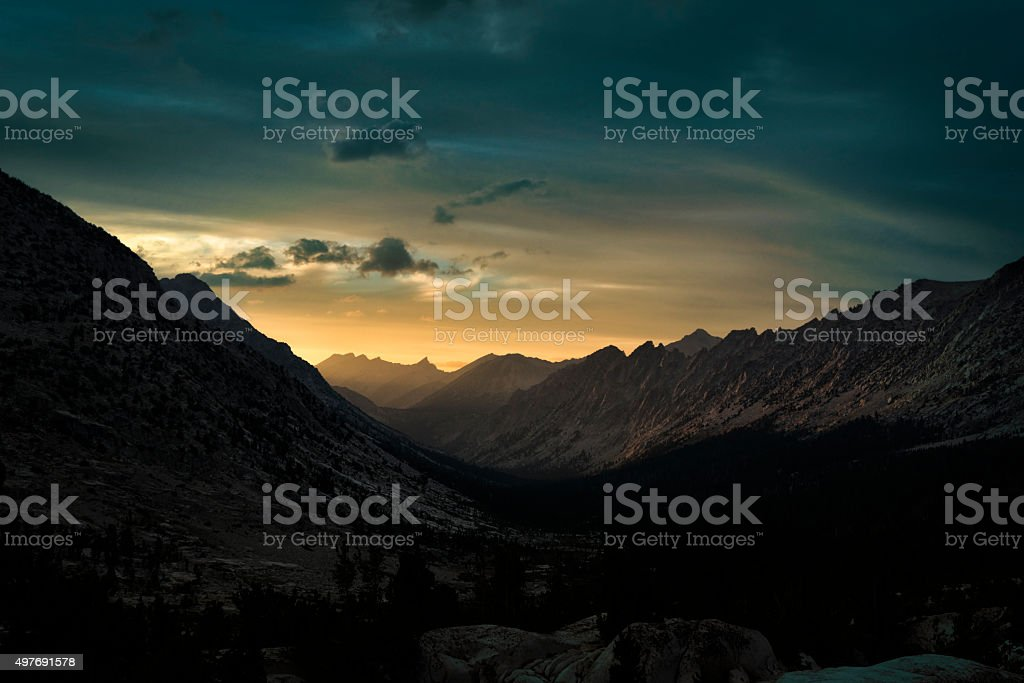Sunset in the Sierra Nevada Mountains stock photo