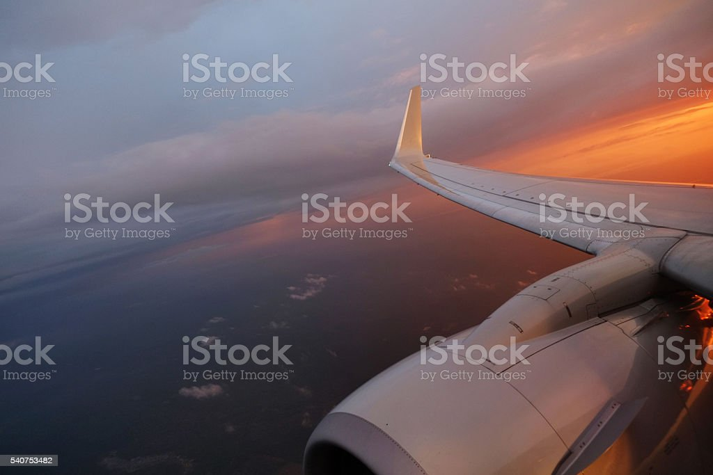 Sunset in the sky stock photo
