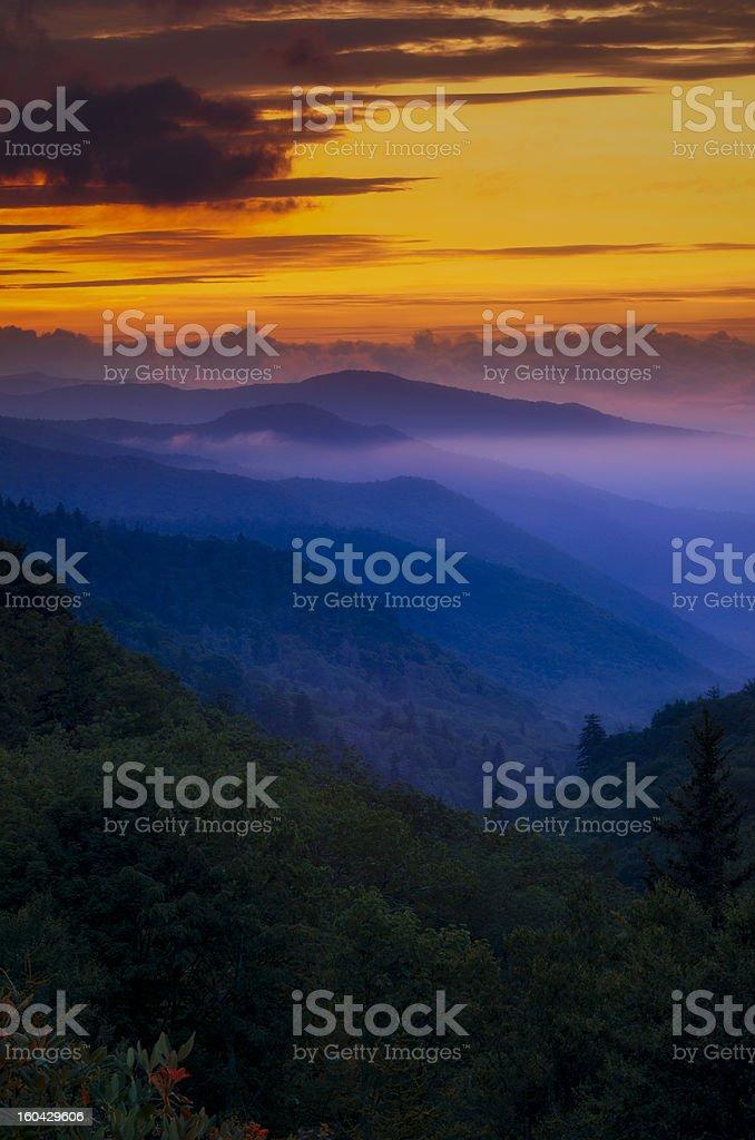 Sunset in the Smokies stock photo
