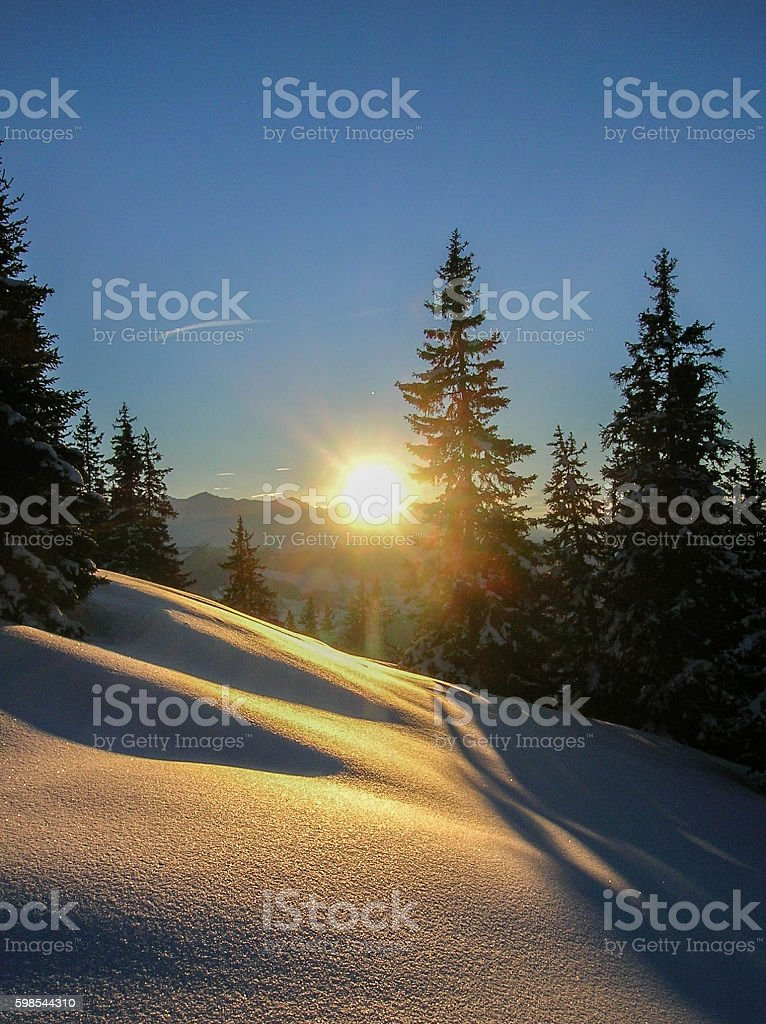 sunset in the Swiss Alps stock photo