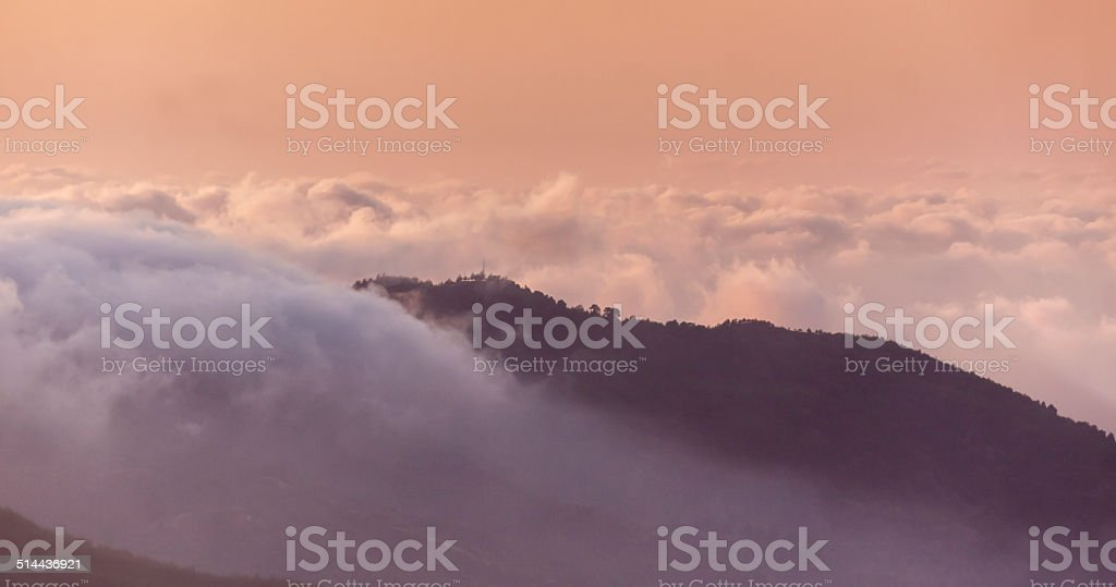 Sunset in the Troodos Mountains of Cyprus stock photo